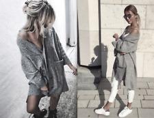 ZARA LONG SOFT KNITTED GREY COAT JACKET CARDIGAN SWEATER NEW DRESS BOOTS