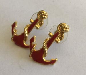 80s vintage Nautical Anchor Maritime Enamel earrings Pierced Kitsch Red