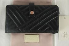 """Radley """"Larkswood"""" Black Quilted Leather Bifold Matinee Purse Wallet Large New"""