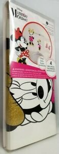 Minnie Mouse Glitter Wall Decals Disney 4 Stickers Peel & Stick Reusable New