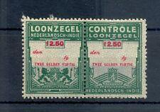 DUTCH INDIES INDONESIA REVENUE -LOONZEGEL Fl.2,50 PAIR * MH --F/VF