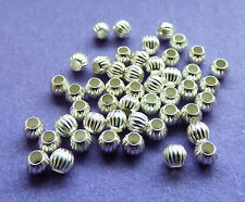 3mm 925 Sterling Silver Round Corrugated Fluted Spacer Beads 10pcs.