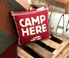 "CAMPING 18"" sq. ACCENT PILLOW : RED CAMP HERE CAMPER RETRO CABIN MILLER TOSS"