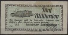 [18586] - NOTGELD LAUTERBACH, Damenhutfabrik, 5 Milliarden Mark, o. D. (1923) -