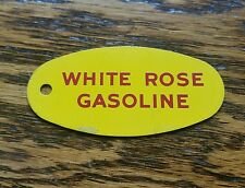 Vintage advertising white rose motor oil tag keychain sign gas