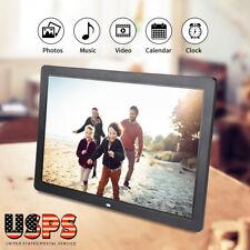 "17"" HD Digital Photo Picture Frame Clock Alarm Player Album Remote Control US"