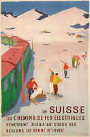 Original Vintage Poster - H Jegerlehner - Skiing in Switzerland - Simplon - 1950