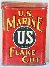 US MARINE FLAKE CUT CAN U.S. MILITARY TOBACCO HEAVY DUTY METAL ADVERTISING SIGN
