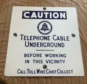 Vintage Bell System Pacific Telephone Co. Underground Cable 24x24 Porcelain Sign