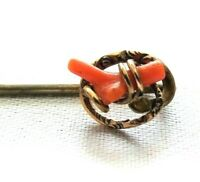 "Vintage Coral Wrapped Stick Pin GOLD FILL 2 1/2"" Long Beautiful"