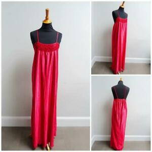 Vintage Nightgown 1970s 1980s Nightdress Bright Red Nylon Lace Ladies X Large
