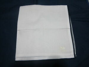 """USED WHITE SOLID HORSE CARRIAGE PATTERN COTTON 18""""POCKET SQUARE HANDKERCHIEF MEN"""