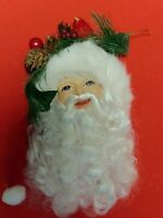 Vintage Santa Christmas Tree Ornament Curly Beard Red Bird Holly Mint Condition