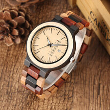Luxury Colorful Wooden Watch for Men Fashion Bamboo Strap Week Date Display Gift