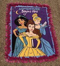 "New Handmade Disney Princess Tie Blanket 51 X 40"" Belle Cinderella Jasmine"