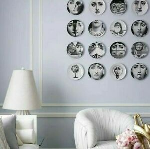 "Fornasetti-inspired Vintage Plates Wall Hanging Home Display Decor 8"" 20cm"