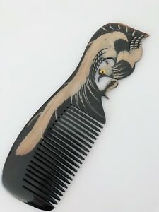 Women Phoenix shape Engraved Natural Black Ox Horn Hair Comb Brush Gift her mum