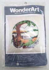 WonderArt Pastorale Landscape Needlepoint Crewel Pillow Kit #5612 Vintage 12X12