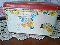 VINTAGE RED & WHITE TIN BREAD BOX WITH FLOWERS.. ***GREAT PATINA***