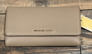 MICHAEL KORS Large Trifold Leather Wallet Truffle Money Tan 32F8TF6E3L $128.