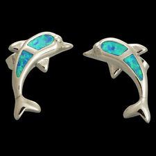 Delphinidae Dolphin Ocean Blue Fire Opal Inlay Silver Jewelry Stud Earrings