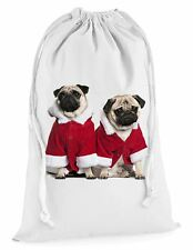 Pug Dog Santa Claus Christmas Presents Stocking Drawstring Sack