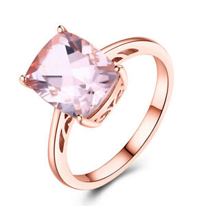 10x8mm Cushion 2.9ct Morganite Gemstone Generous 14K Rose Gold Solitaire Ring