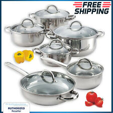 12 Pcs Cookware Set Induction Oven Safe Stainless Steel Chef Cooking Pots Pan