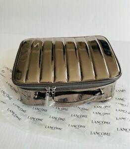 Lancome Makeup Cosmetic Train Case Silver Metallic Shine + FREE GIFT