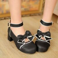 Sweet Womens Lolita Bowknot Cosplay Pumps Ankle Strap Mary Janes Mid Block Shoes