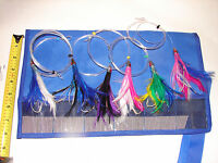 6 Tuna Feathers Rigged Mahi Dolphin Wahoo Trolling Big Game FISHING LURE LOT