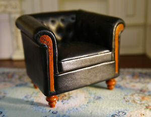 Dollhouse Parlor Armchair Single Sofa 1/12 Wooden Black Leather High Quality