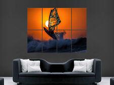 Windsurf SUNSET SPORT MARE OCEAN WAVE Art Immagine Grande Muro Poster Foto