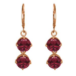 Tear Drop Round Two Stone 9K Rose Gold Red Sapphire Birthday Gift For Her