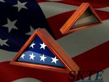 Flag Display Case 3' x 5' Veteran Flag Holder Frame Shadow Box Solid Wood