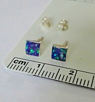Sterling Silver TINY 5mm Square Vibrant Purple Blue Lab Opal Inlay Stud Earrings