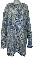 DRIES VAN NOTEN BLUE FEATHER PRINT OVERSIZED SHIRT DRESS, XS, $1100