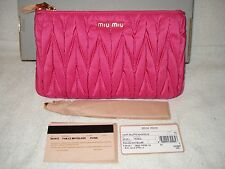 100% AUTHENTIC NEW MIU MIU MATELASSE FUCHSIA WRISTLET CLUTCH BAG
