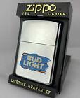 Rare Retired 1995 NEW Budweiser Bud Light Zippo Lighter