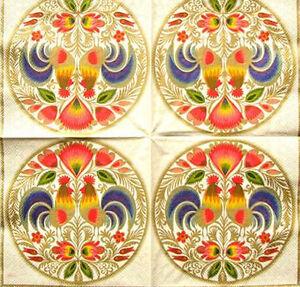 PAPER TABLE NAPKINS FOR CRAFT VINTAGE LOWICZ FOLK DECOUPAGE TEA PARTIES 001