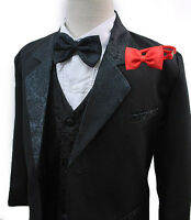 New Infant Baby Toddler Boy Formal Black Wedding Tuxedo Suit Extra Red Tie S-20
