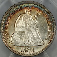 1871 Seated Liberty Silver Half Dime, PCGS MS-64, GEM, Lightly Toned