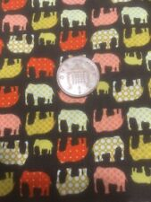 Tiny Elephants On Brown Big Little Foot 100% Cotton Quilting Craft Fabric