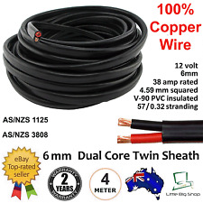 New 4M 6mm DUAL BATTERY AUTOMOTIVE CABLE 6 Twin Flat 2 Core Metre Auto Wire 12V