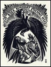 Frank Ivo Van Damme 1965 Exlibris X2 Bird Vogel Erotic Woman 1490