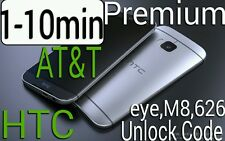 Unlock Code AT&T T-Mobile HTC One M8 M7 Desire EYE 610 8X vivid HD7  1-10 min