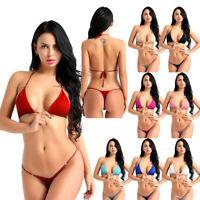 Frauen Bikini Set Neckholder BH Top mit G-String Slip Tanga Bademode Badeanzug