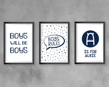 Boys bedroom A4 Prints | Navy | Home decor | boys will be boys | personalised