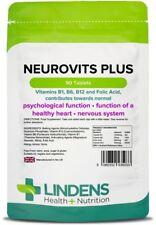 Neurovits Plus (90 Comprimés) Vitamine B1, B6, B12, Acide Folique Végétarien Gb