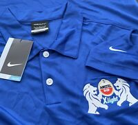 E75 NWT NikeGolf Blue Amstel Bier Xlight Dri-Fit Polo Mens Size L 100% Polyester
